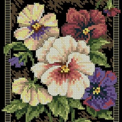 Dimensions 35073 Pansies on Toile